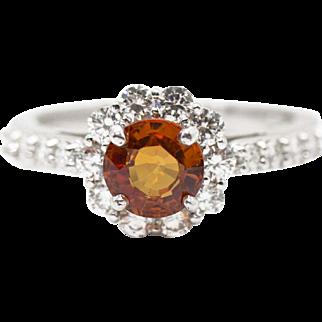 1.90ctw Natural Orange Sapphire and Diamond 14k White Gold Halo Ring