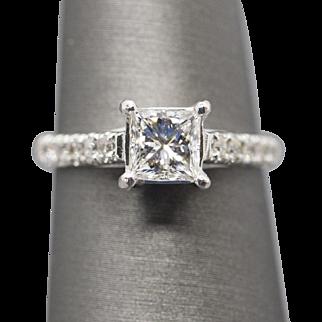 1.52ctw H VVS2 Princess Cut Diamond 14k White Gold Engagement Ring