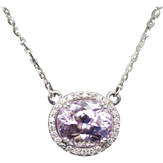 """4.85ctw Kunzite and Diamond 14k White Gold Heart Detail 18"""" Halo Necklace"""