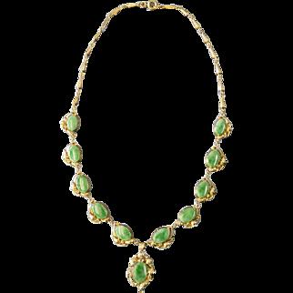 """Vintage Art Nouveau Un-Dyed Natural Jade 14k Yellow Gold 16"""" Necklace"""