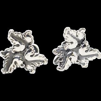 DAFRI Leaf Design Sterling Silver Screw Back Earrings