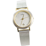 Skagen Denmark Stainless Steel Mesh and Yellow Gold Plated Women's Watch