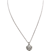 """Judith Jack Marcasite Sterling Silver Heart Pendant Necklace 16"""""""