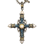 Barbara Bixby Amazing Grace London Blue Topaz and Pearl Cross 18k and Silver Pendant