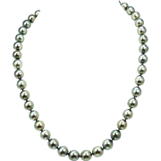 """Tahitian Black Pearl Graduated Necklace 18"""" 14k White Gold"""