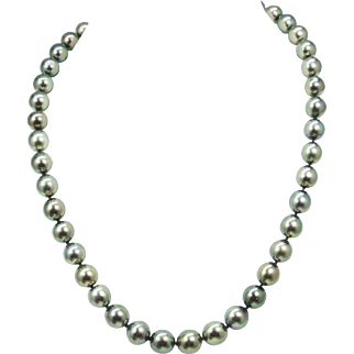 "Tahitian Black Pearl Graduated Necklace 18"" 14k White Gold"
