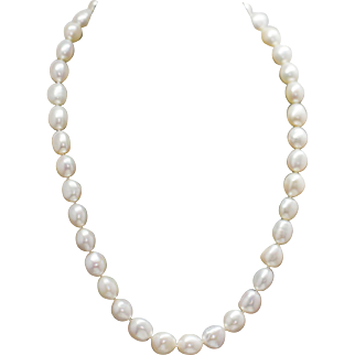 White Baroque Pearl Sterling Silver Strand Necklace 17.5""