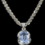 Vintage Mexico 11.46ct Light Blue Topaz Sterling Silver Pendant
