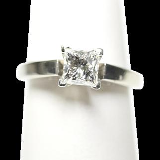 Princess Cut Leo Diamond Engagement Ring 0.95ct I SI1 14k White Gold Size 5.5