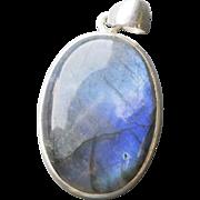 Bezel Set Oval Labradorite Sterling Silver Pendant