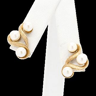 Vintage Akoya Pearl 14k Yellow Gold Earrings