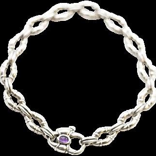 Scott Kay Sterling Silver Amethyst Bolo Chain Bracelet NIB