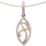 .11ctw Diamond Rose and White Gold Pendant 14k