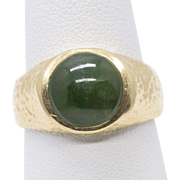 Custom Green Jade Jadeite Cabochon & Textured 14k Yellow Gold Ring Size 10 11.3g
