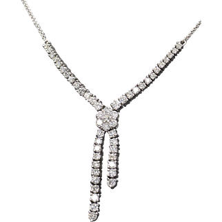 Wrapped in Love 1.50ctw Diamond 14k White Gold Lariat Chain Necklace 16""