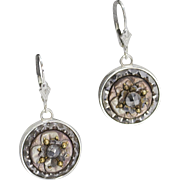 Handmade Antique Victorian Button Sterling Silver Dangle Earrings