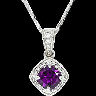 Grape Purple Mozambique Garnet and Diamond Pendant Necklace Handmade 14k