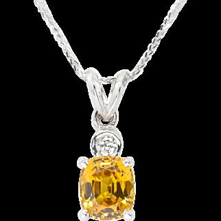 Handmade 2.30ctw Yellow Sapphire and Diamond Pendant in 14k White Gold