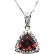 3.60ctw Red Zircon and Diamond Trillion Halo Pendant 14k White Gold Handmade!