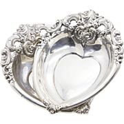 Wallace Grande Baroque Sterling Silver Heart BonBon or Nut Bowl Holder (2 Avail.)