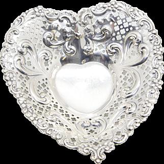 Gorham Sterling Silver Heart Shaped Bon Bon Dish Bowl