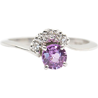 0.76ctw Natural Pink Sapphire and Diamond Ring in White Gold Handmade in USA!