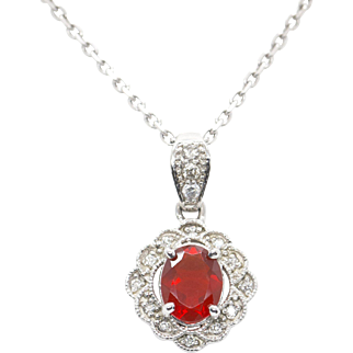 Handmad Cherry Red Fire Opal and Diamond Pendant and Chain Necklace