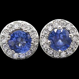 4.35ctw Cornflower Blue Sapphire and Diamond Halo Stud Earrings Handmade 14k