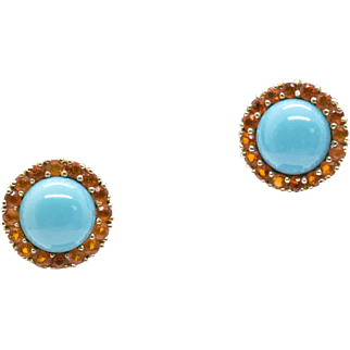 Turquoise and Fire Opal Halo Stud Earrings 14k