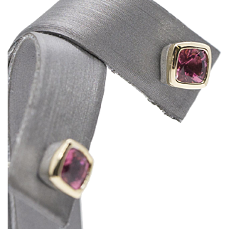 Sparkling Pink Tourmaline Sterling Silver and 18k Stud Earrings
