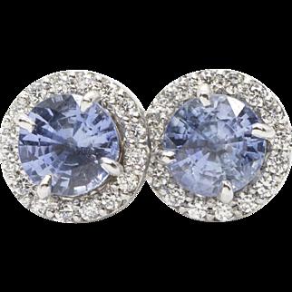 2.67ctw Cornflower Blue Sapphire Stud Earrings with Diamond Jackets Handmade in Portland, OR