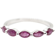 0.50ctw Natural Marquise Ruby and 14k White Gold Stack Band Ring