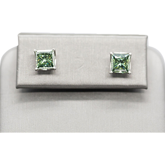4.0ctw Princess Cut Green Moissanite and 14k White Gold Stud Earrings