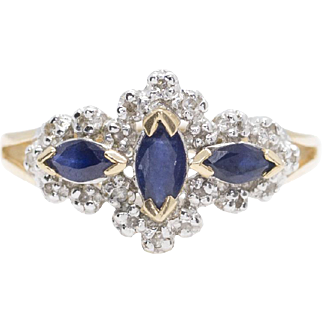 0.50ctw Vintage Marquise Sapphire and Diamond Ring 10k