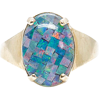 Cabochon Cut Opal Mosaic Triplet in 10k Yellow Gold