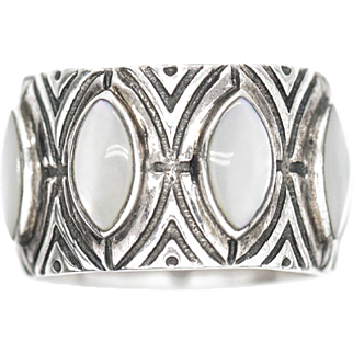 Chunky Mother of Pearl and Sterling Silver Eternity Ring Size 7