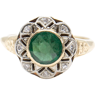 1.05ct Victorian Round Green Sapphire and Diamond Yellow Gold Ring