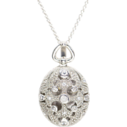 Vintage Style Sterling Silver and Cubic Zirconia Locket Necklace