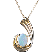 Small Opal and Diamond Pendant in 14k Yellow Gold