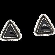 Southwestern Black Onyx Triangle Earrings in Sterling Silver