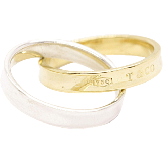 Tiffany & Co. Interlocking Circles Ring in 18k Yellow Gold And Silver Size 6