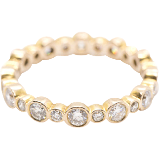 1.20ctw 14k Rose Gold Diamond Eternity Ring Size 5.5