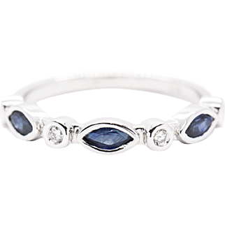 0.72ctw Blue Sapphire and Diamond Stack Band Ring in 14k White Gold