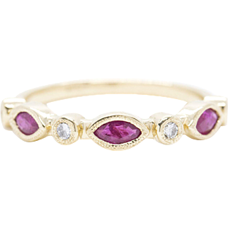 0.72ctw Ruby and Diamond Stack Band Ring in 14k Yellow Gold