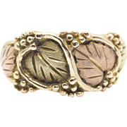 Landstrom's Black Hills Gold Leaf and Micro Bead Detailing Ring