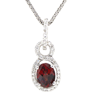 "2.00ctw Red Garnet and Diamond Halo Necklace 16"" 14k White Gold"