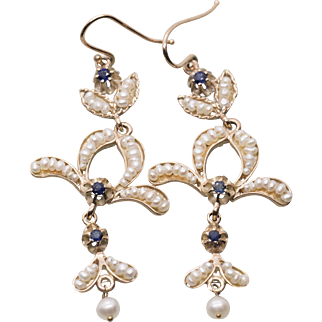 Antique Italian Blue Sapphire and Seed Pearl Hook Earrings 15k