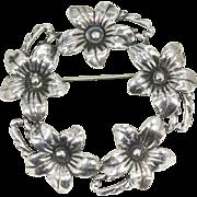 Vintage Danecraft Forget Me Not Flower Circle Pin Brooch