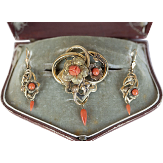 Victorian Carved Coral Floral Brooch Pin and Earrings Set