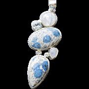 Blue Ocean Jasper Pendant with Moonstone and Blue Topaz